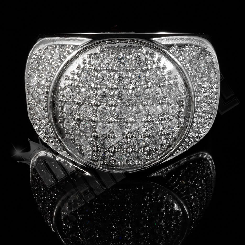 18k IP White Gold Iced Stainless Steel Presidential Ring
