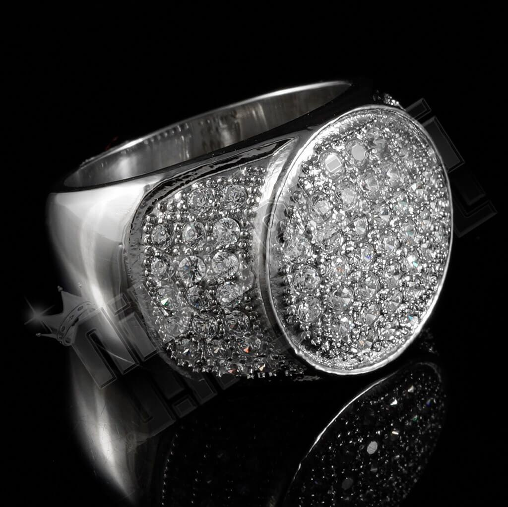 18k IP White Gold Iced Out Stainless Steel Presidential Ring