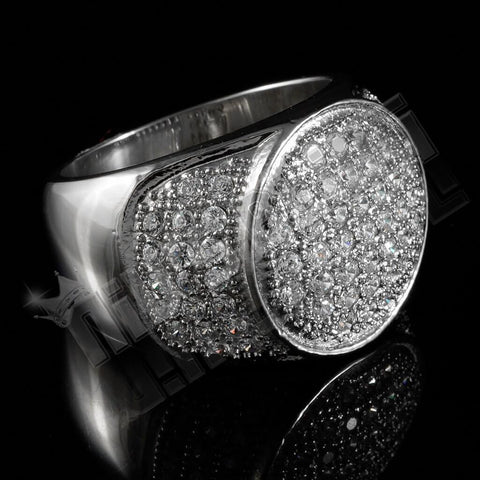 Affordable 18k IP White Gold Iced Out Stainless Steel Presidential Hip Hop Ring - Black Background