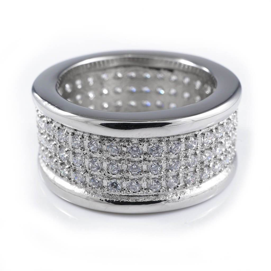 18k IP White Gold Iced Out Stainless Steel Round Ring