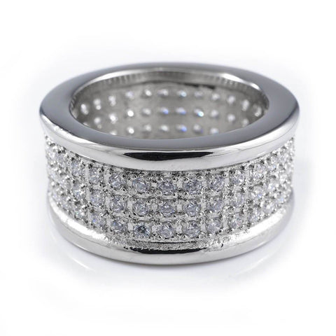 18k IP White Gold Iced Stainless Steel Round Ring