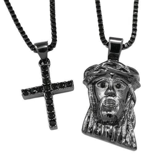 18k Black Gold Jesus + Iced Cross Combo With Box Chain
