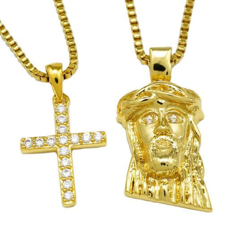 18k Gold Jesus + Iced Out Cross Combo With Box Chain
