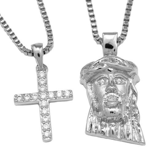 18k White Gold Jesus + Iced Cross Combo With Box Chain