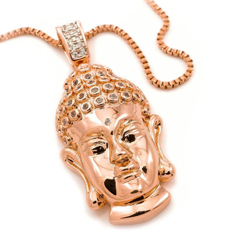 18k Rose Gold Iced Buddha Pendant With Box Chain