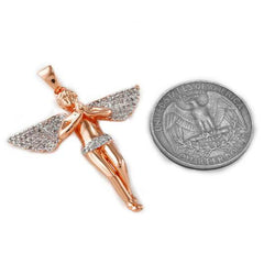 18k Rose Gold Praying Mini Angel Pendant With Box Chain