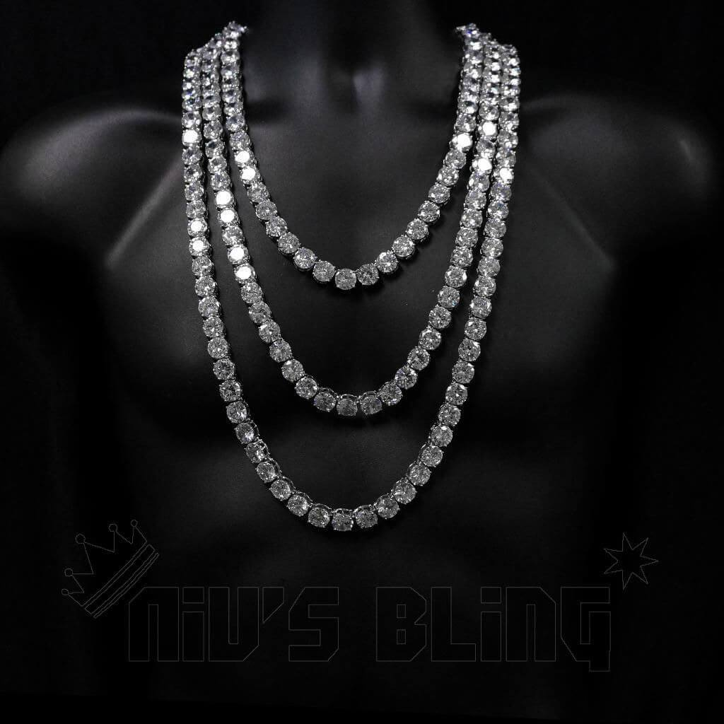 Affordable 18k White Gold 1 Row 12MM Iced Out Hip Hop Chain - On Mannequin
