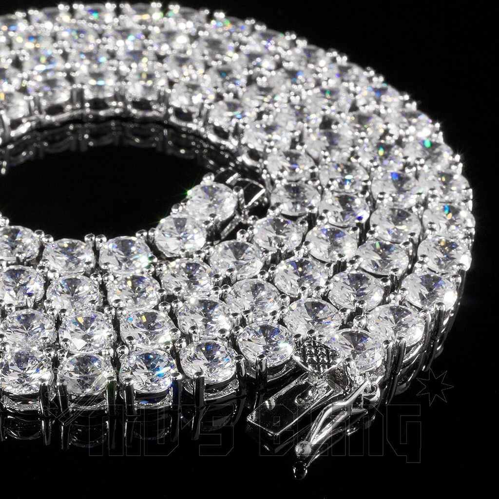 18k White Gold 1 Row 5MM Iced Out Chain