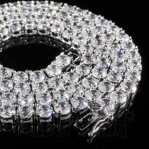 Affordable 18k White Gold 1 Row 5MM Iced Out Hip Hop Chain - Close up