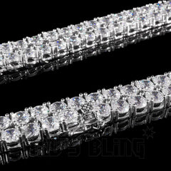 Affordable 18k White Gold 1 Row 5MM Iced Out Hip Hop Chain - Link Side View