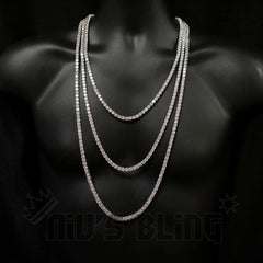 Affordable 18k White Gold 1 Row 5MM Iced Out Hip Hop Chain - On Mannequin