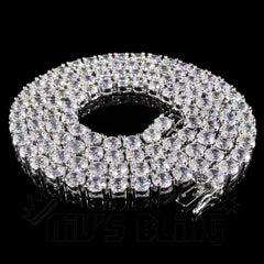 Affordable 18k White Gold 1 Row 5MM Iced Out Hip Hop Chain - Whole view