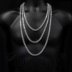 18k White Gold 1 Row 8mm Iced Out Chain