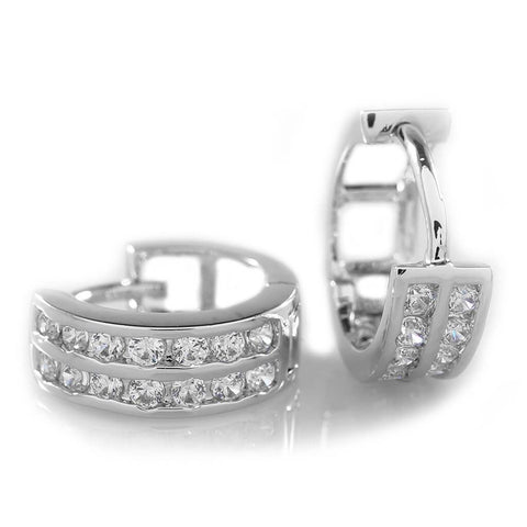Affordable 18k White Gold  Huggie Hoop Leverback Hip Hop Earring - White Background