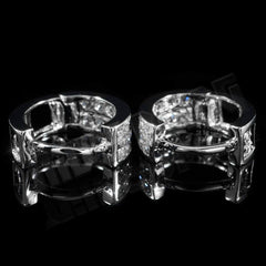 Affordable 18k White Gold  Huggie Hoop Leverback Hip Hop Earring - Clasp view