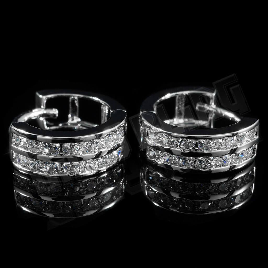 Affordable 18k White Gold  Huggie Hoop Leverback Hip Hop Earring - Side View