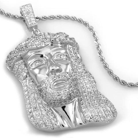 Affordable 18k White Gold Iced Mini Jesus Piece 8 With Hip Hop Chain - White Background