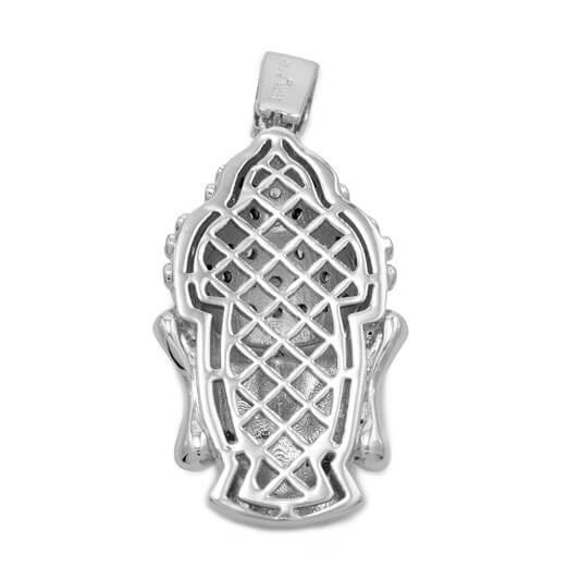 Affordable 18k White Gold Iced Out Buddha Pendant With Hip Hop Chain - Back View