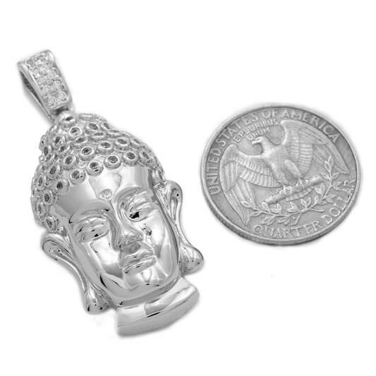 18k White Gold Iced Buddha Pendant With Box Chain