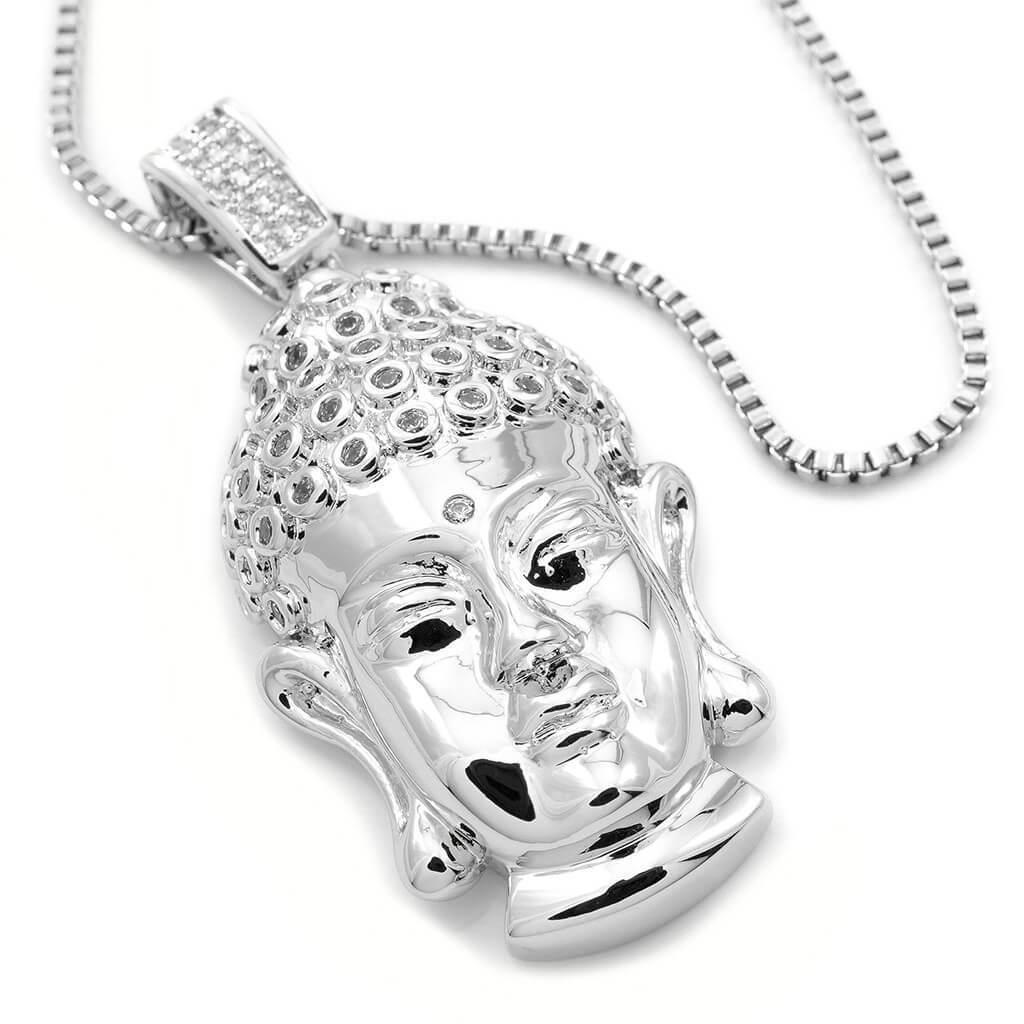 Affordable 18k White Gold Iced Out Buddha Pendant With Hip Hop Chain - White Background