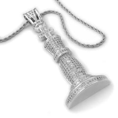 18k White Gold Iced Chess Pendant with Rope Chain