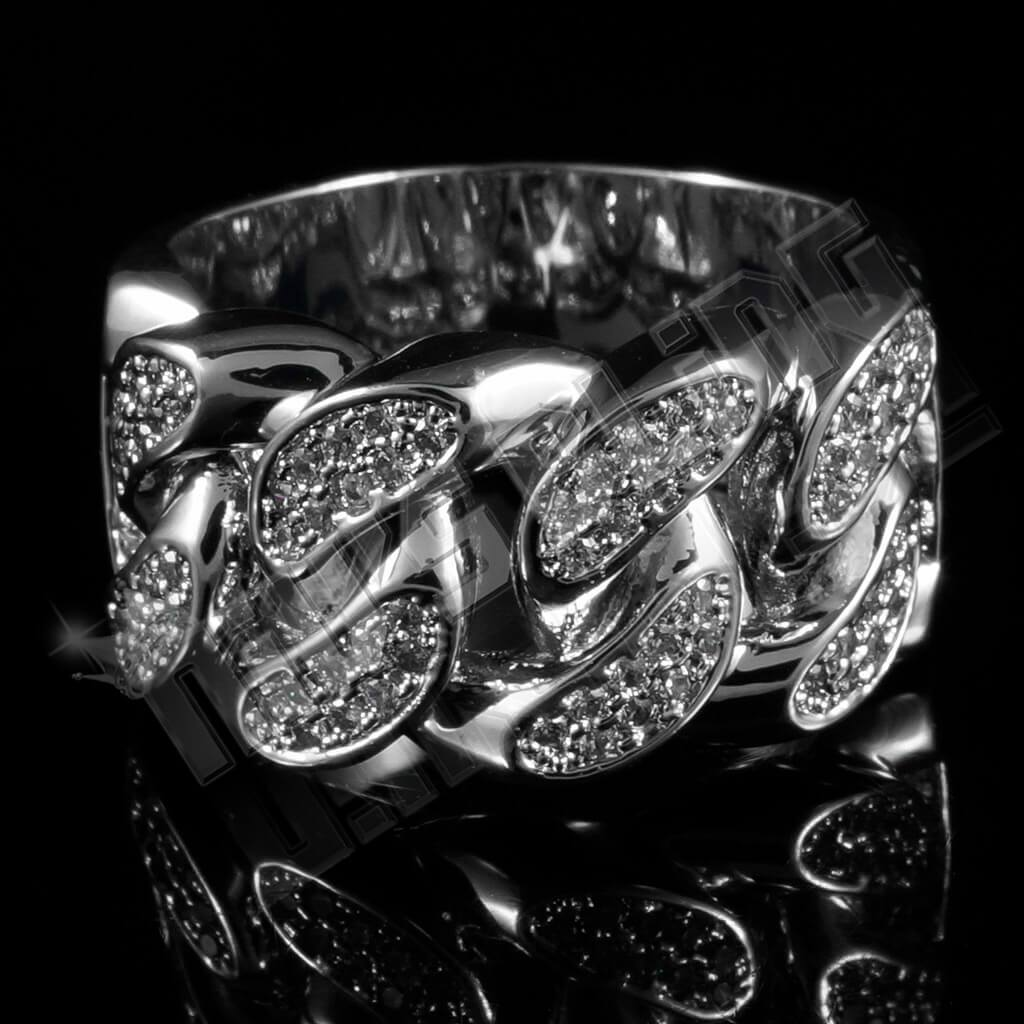 Affordable 18k White Gold Iced Out Cuban Link Hip Hop Ring - Front View