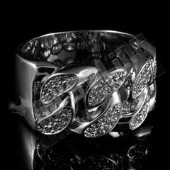 Affordable 18k White Gold Iced Out Cuban Link Hip Hop Ring - Black Background