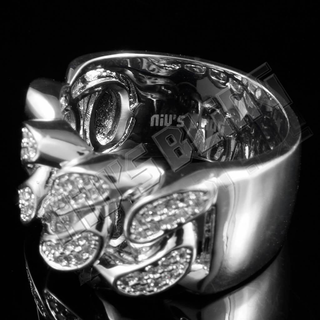Affordable 18k White Gold Iced Out Cuban Link Hip Hop Ring - Side View
