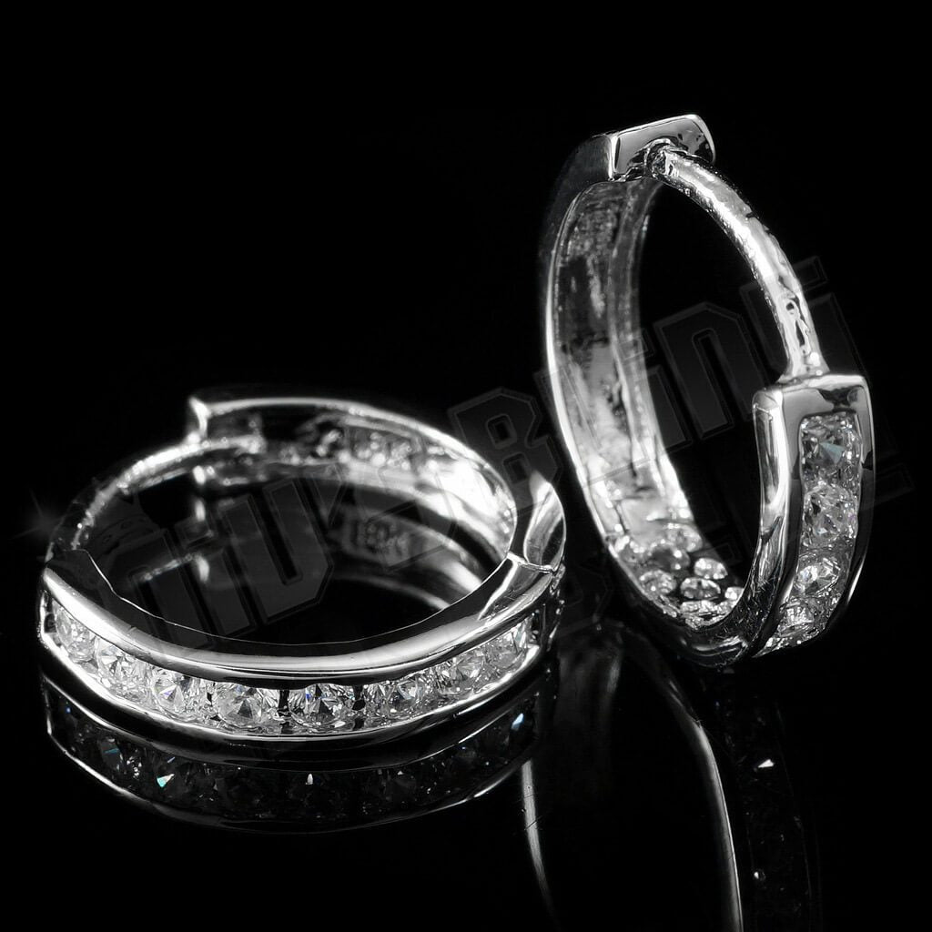 18k White Gold Iced Out Huggie Hoop Earrings