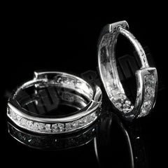 Affordable 18k White Gold Iced Out Huggie Hoop Hip Hop Earrings - Clasp view