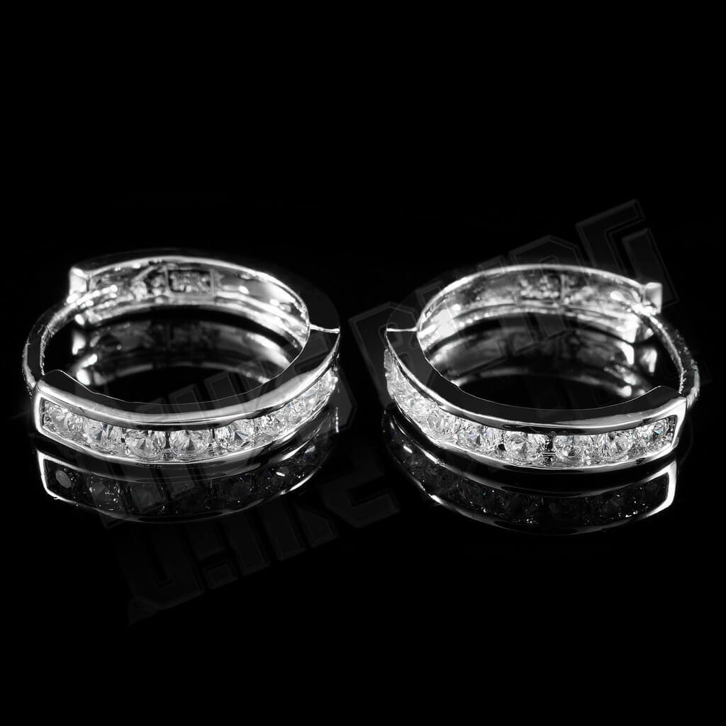 18k White Gold Iced Huggie Hoop Earrings