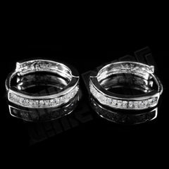 Affordable 18k White Gold Iced Out Huggie Hoop Hip Hop Earrings - Front View