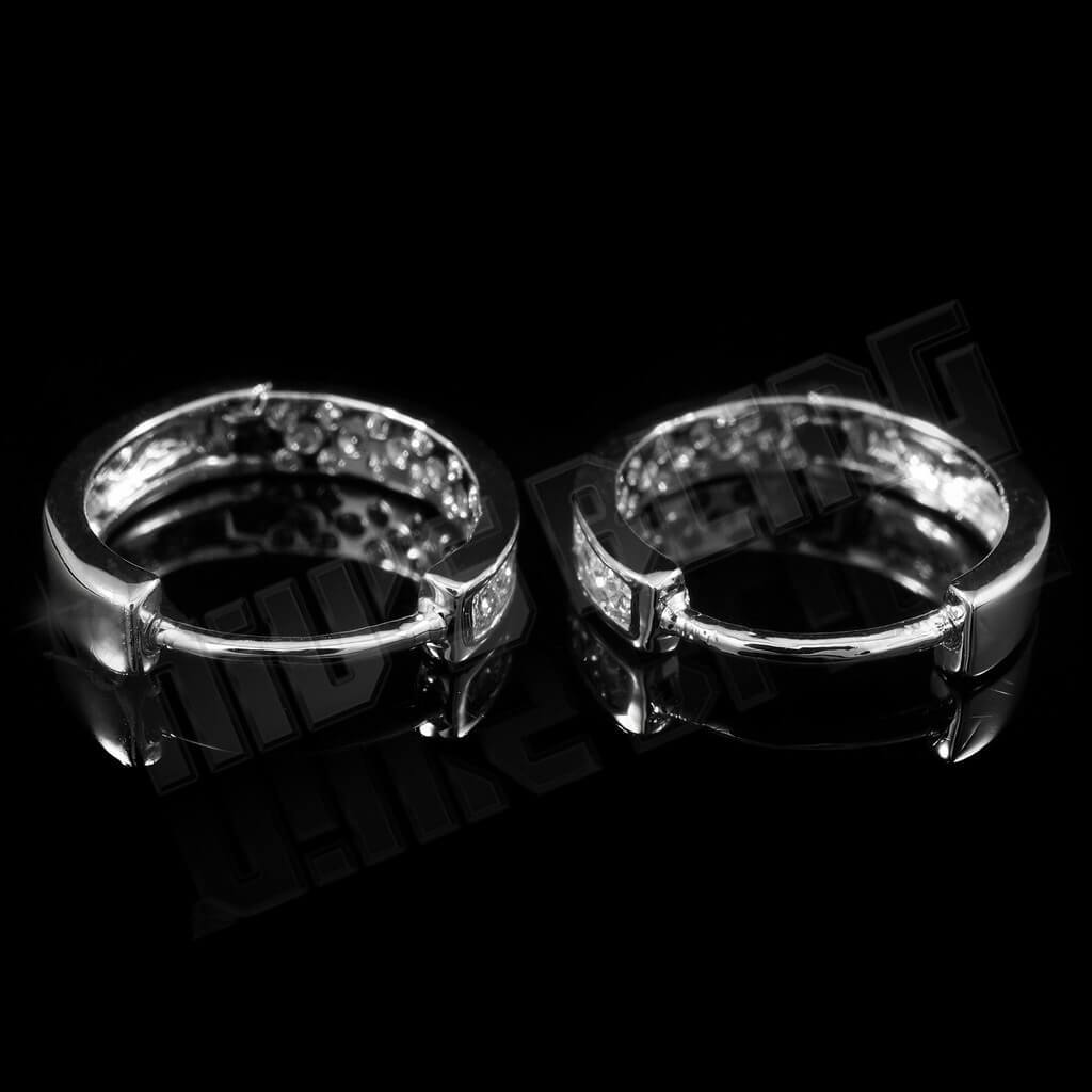 Affordable 18k White Gold Iced Out Huggie Hoop Hip Hop Earrings - Back view