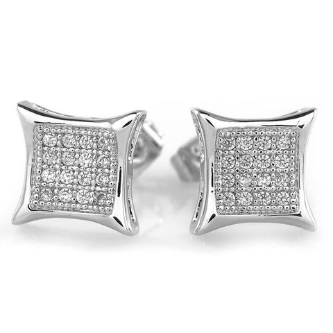 18k White Gold Iced Square Kite Stud Earrings