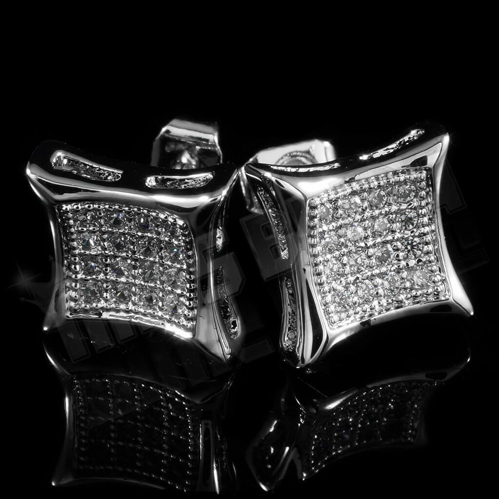 Affordable 18k White Gold Iced Out Kite Square Stud Hip Hop Earrings - Back Background