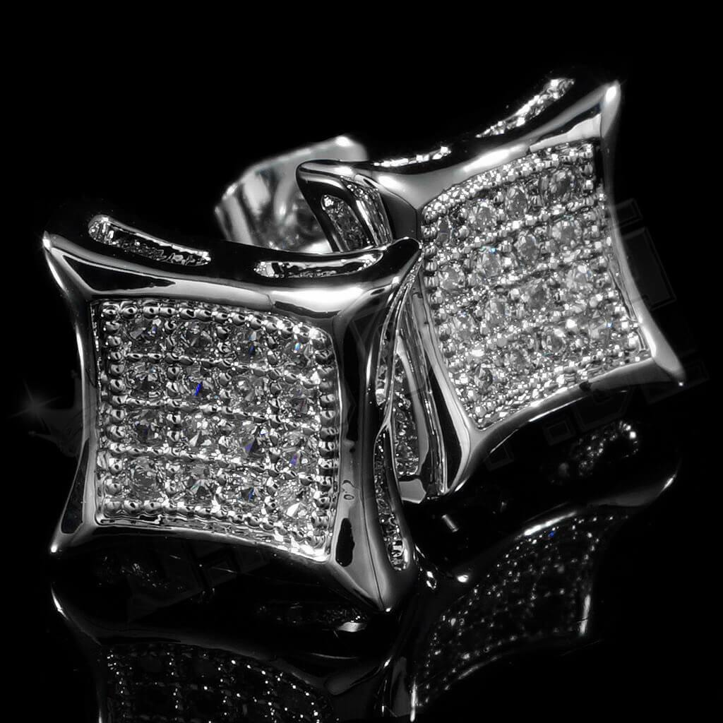 Affordable 18k White Gold Iced Out Kite Square Stud Hip Hop Earrings - Side View