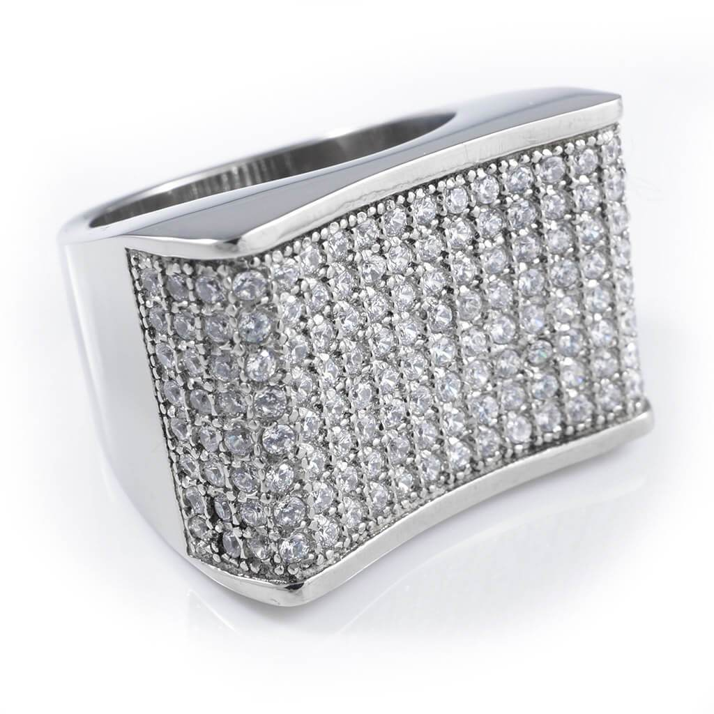 Affordable 18k White Gold Iced Out Stainless Steel Concave Hip Hop Ring - White Background