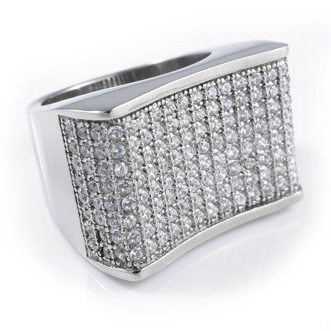 18k White Gold Iced Out Stainless Steel Concave Ring