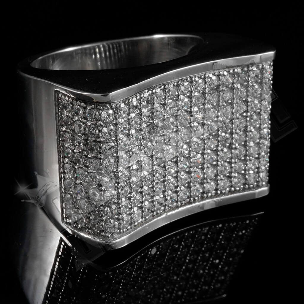 Affordable 18k White Gold Iced Out Stainless Steel Concave Hip Hop Ring - Black Background