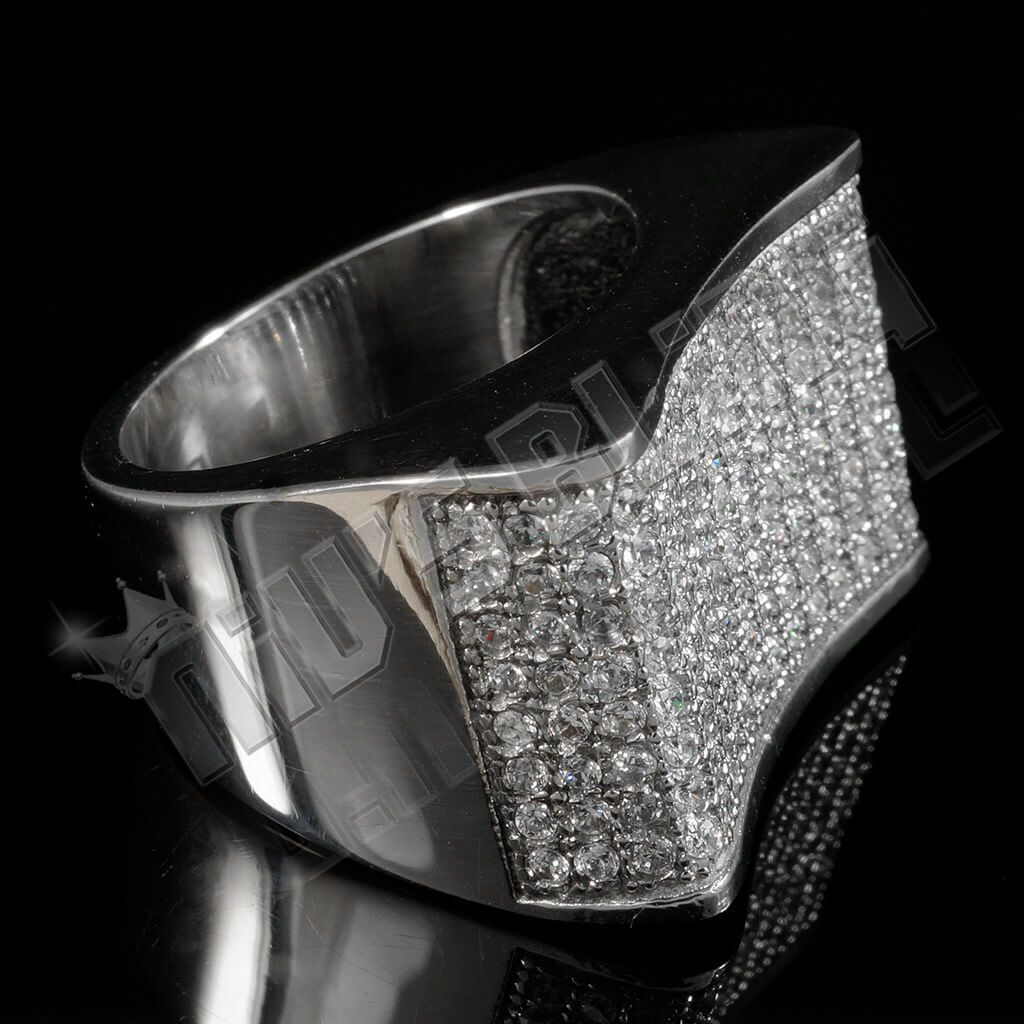 Affordable 18k White Gold Iced Out Stainless Steel Concave Hip Hop Ring - Side View