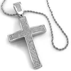 18k White Gold Jesus Cross 1 With Rope Chain