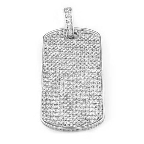 18k White Gold Plated Iced Out Dog tag with Box Chain