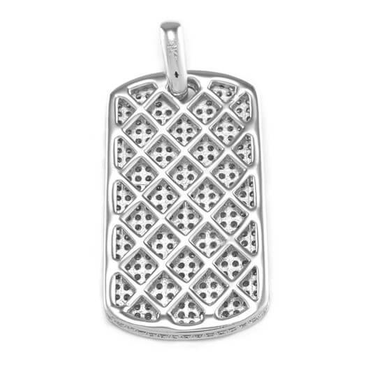 Affordable 18k White Gold Plated Iced Out Dog Tag With Ball Hip Hop Chain - Back View