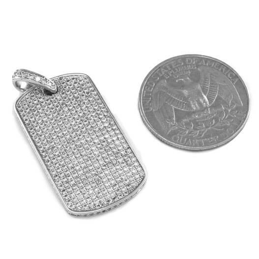 18k White Gold Plated Iced Dog tag with Box Chain