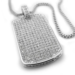 Affordable 18k White Gold Plated Iced Out Dog Tag With Ball Hip Hop Chain - White Background