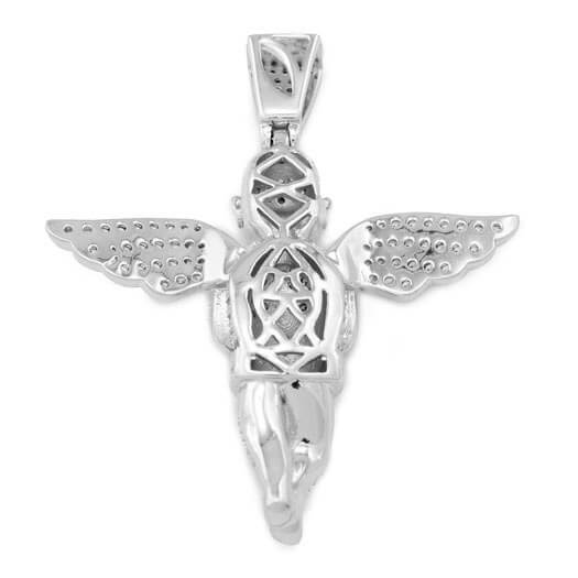 18k White Gold Praying Angel Iced Pendant With Rope Chain