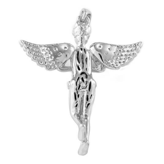 18k White Gold Praying Mini Angel Pendant With Box Chain