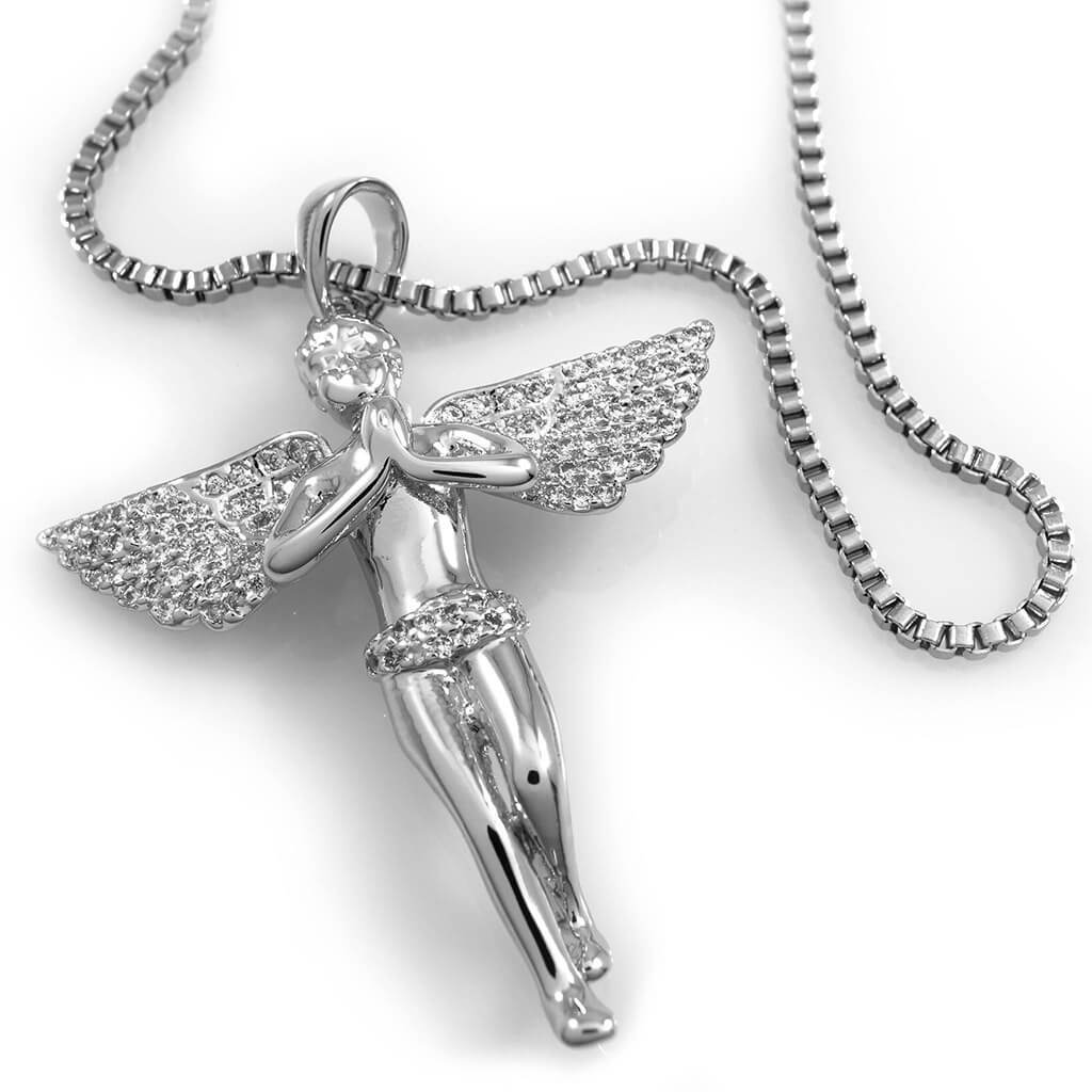 Affordable 18k White Gold Praying Mini Angel Pendant With Hip Hop Chain - White Background