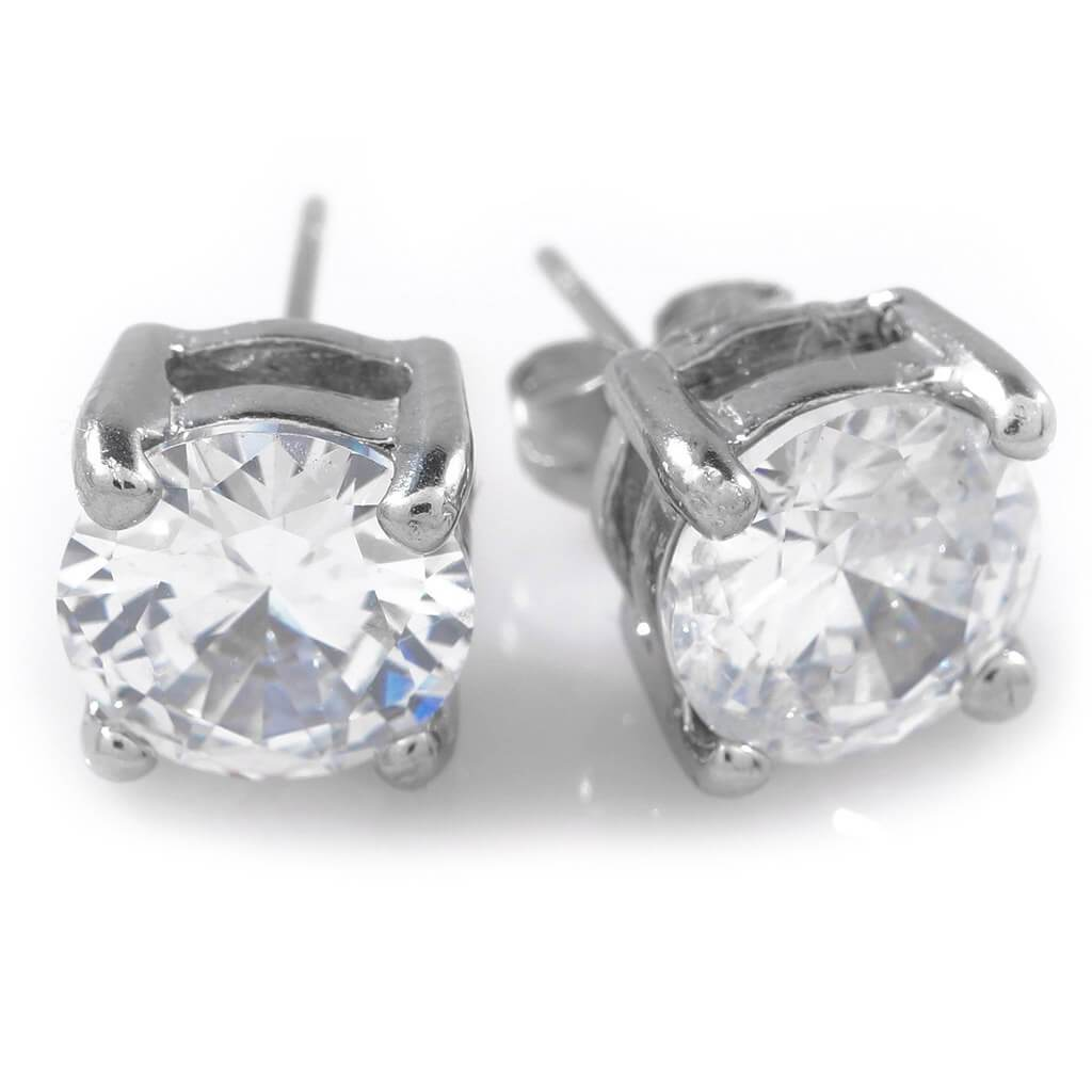 Affordable 18k White Gold Stainless Steel Round Stud Hip Hop Earrings - White Background