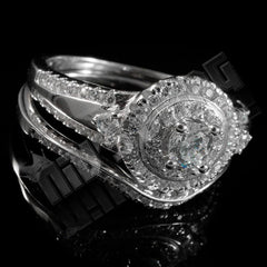 925 Sterling Silver 18k White Gold 2 Piece Accented Halo Ring